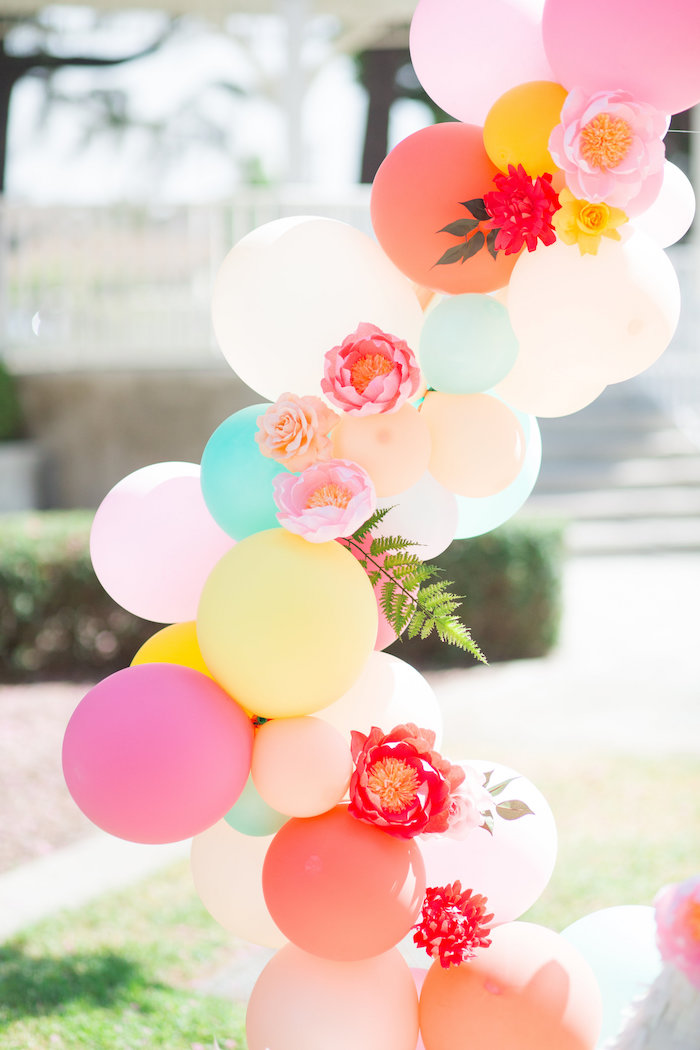 Floral Balloon Arch + Garland from a Llama First Birthday Party on Kara's Party Ideas | KarasPartyIdeas.com (23)