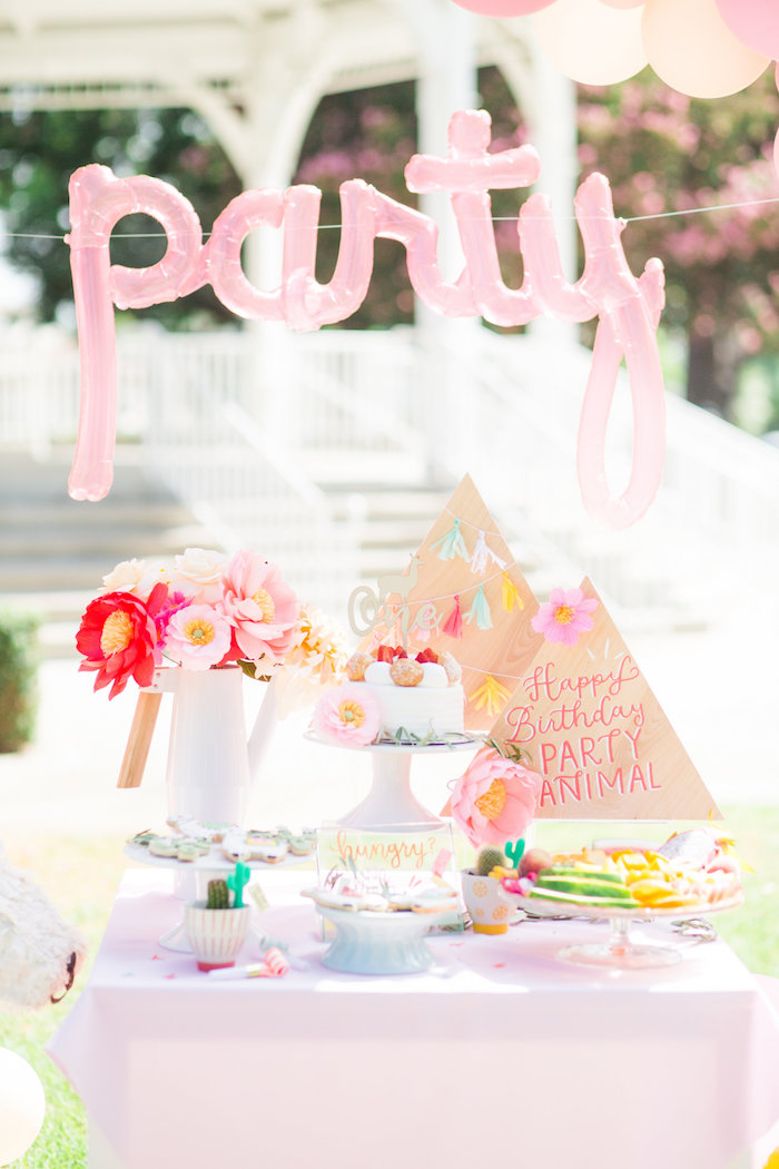 Llama Themed Dessert Table from a Llama First Birthday Party on Kara's Party Ideas | KarasPartyIdeas.com (21)