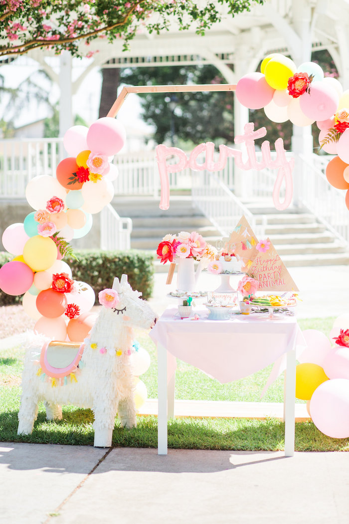 Llama Party Table + Arch from a Llama First Birthday Party on Kara's Party Ideas | KarasPartyIdeas.com (20)