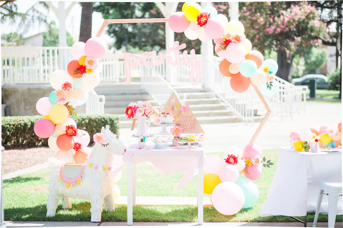 Llama Party Table + Arch from a Llama First Birthday Party on Kara's Party Ideas | KarasPartyIdeas.com (19)