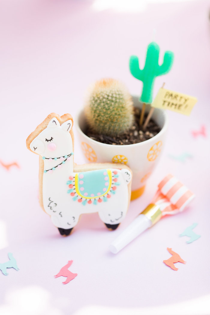 Llama Cookie, Confetti & Cactus from a Llama First Birthday Party on Kara's Party Ideas | KarasPartyIdeas.com (16)