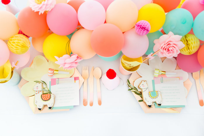 Llama-inspired Guest Tabletop from a Llama First Birthday Party on Kara's Party Ideas | KarasPartyIdeas.com (10)