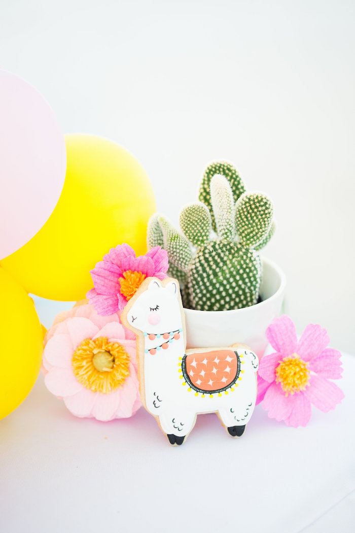 Cactus Table Centerpiece from a Llama First Birthday Party on Kara's Party Ideas | KarasPartyIdeas.com (8)