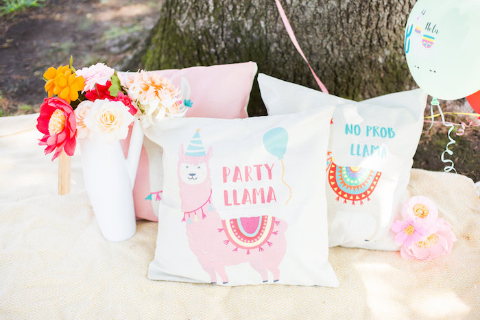 Llama Pillows from a Llama First Birthday Party on Kara's Party Ideas | KarasPartyIdeas.com (6)