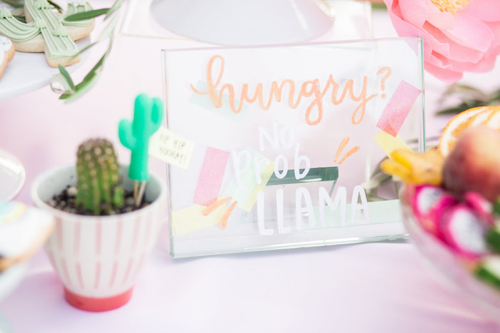 Hungry? No Prob Llama - Sign from a Llama First Birthday Party on Kara's Party Ideas | KarasPartyIdeas.com (37)