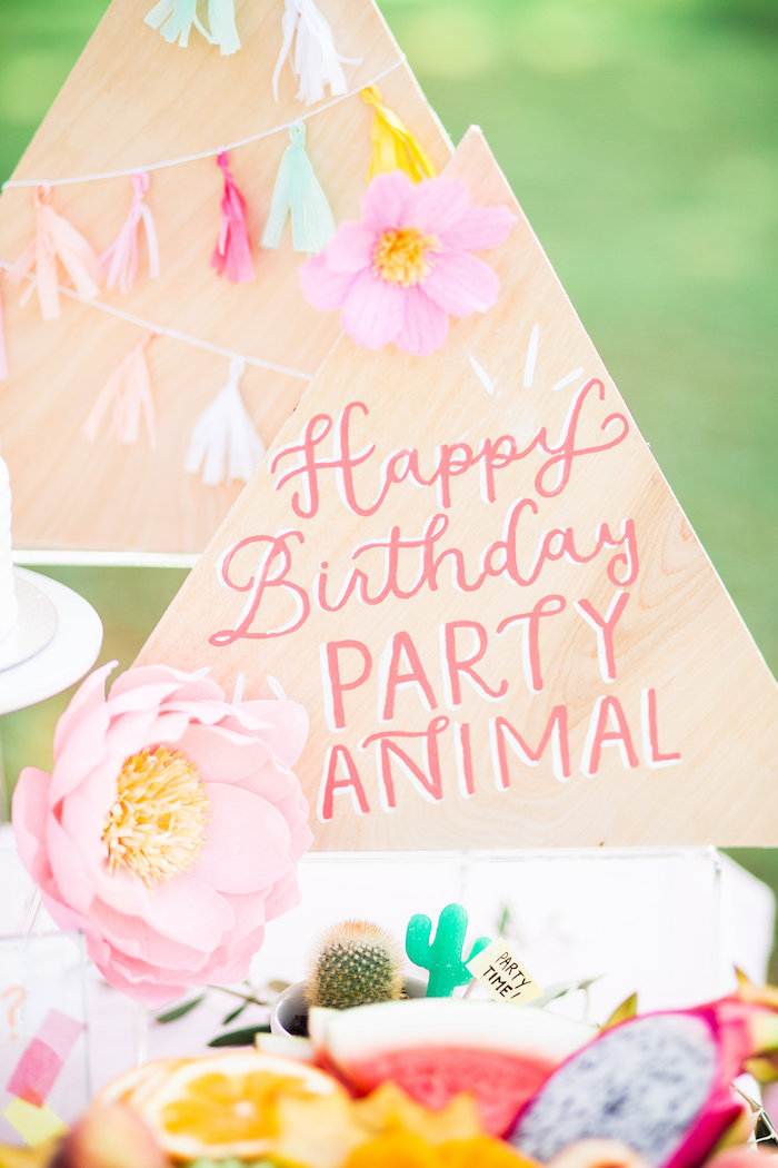 Triangle - Happy Birthday Party Animal Sign from a Llama First Birthday Party on Kara's Party Ideas | KarasPartyIdeas.com (36)