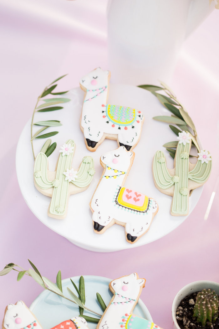 Llama & Cactus Cookies from a Llama First Birthday Party on Kara's Party Ideas | KarasPartyIdeas.com (34)