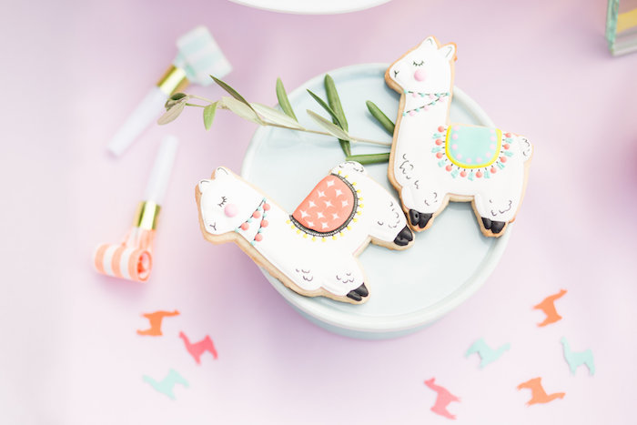 Llama Cookies from a Llama First Birthday Party on Kara's Party Ideas | KarasPartyIdeas.com (33)