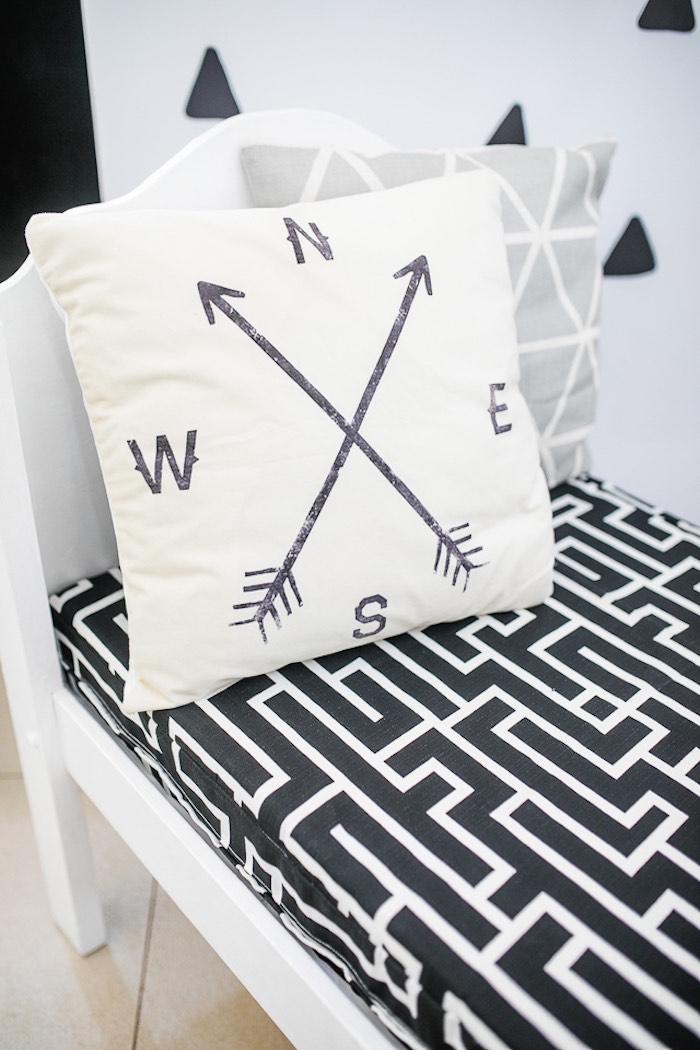Monochromatic Bedding + Pillow from a Minimal Scandinavian Inspired Panda Birthday Party on Kara's Party Ideas | KarasPartyIdeas.com (16)