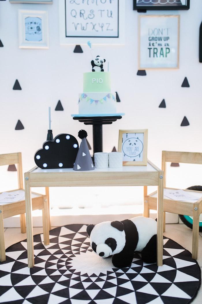 Panda Bear Cake Table from a Minimal Scandinavian Inspired Panda Birthday Party on Kara's Party Ideas | KarasPartyIdeas.com (25)