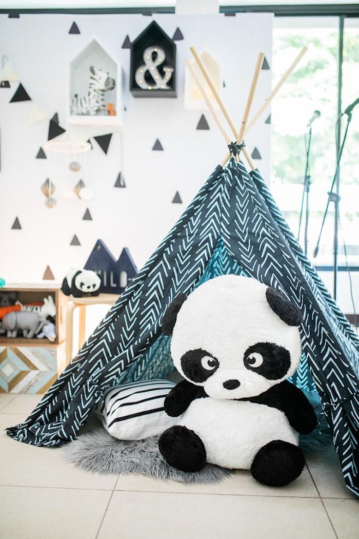 Panda Bear Tent Lounge from a Minimal Scandinavian Inspired Panda Birthday Party on Kara's Party Ideas | KarasPartyIdeas.com (24)