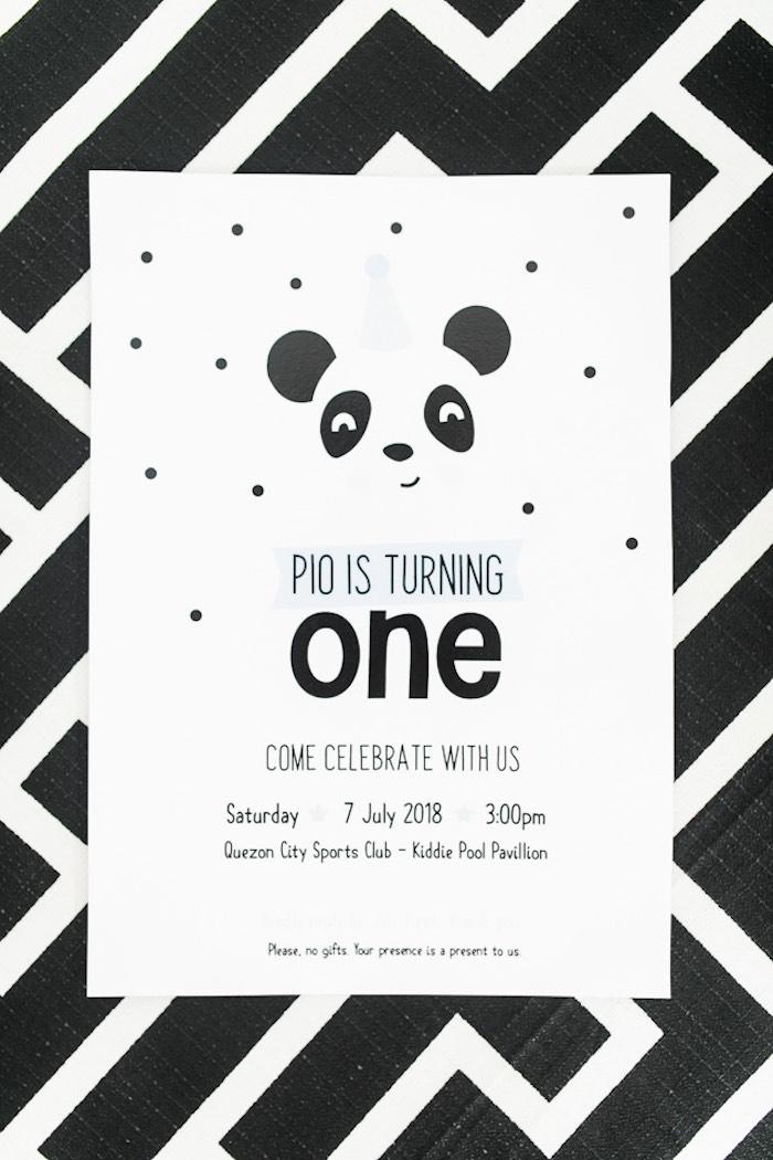 Panda Bear Party Invite from a Minimal Scandinavian Inspired Panda Birthday Party on Kara's Party Ideas | KarasPartyIdeas.com (22)