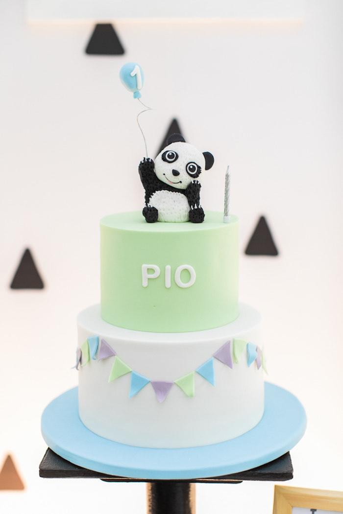 Panda Bear Cake from a Minimal Scandinavian Inspired Panda Birthday Party on Kara's Party Ideas | KarasPartyIdeas.com (21)