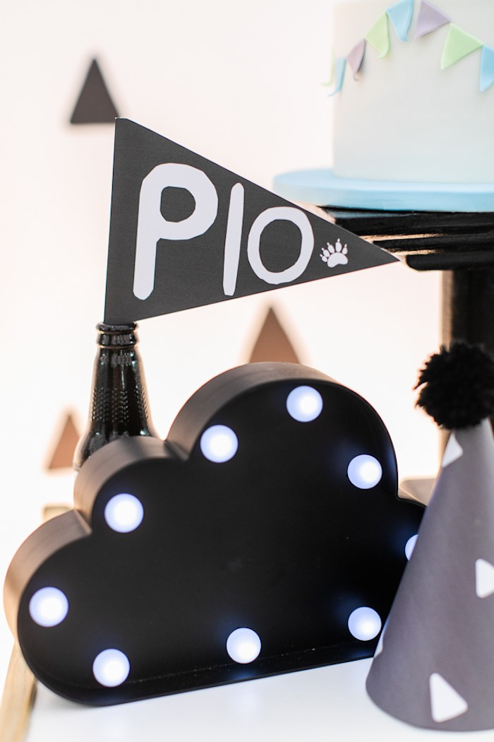Cloud Marquee Light from a Minimal Scandinavian Inspired Panda Birthday Party on Kara's Party Ideas | KarasPartyIdeas.com (20)