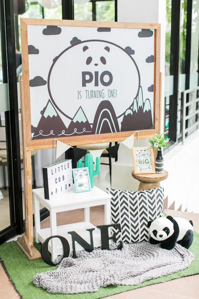 Custom Panda Bear Signage + Decor from a Minimal Scandinavian Inspired Panda Birthday Party on Kara's Party Ideas | KarasPartyIdeas.com (19)