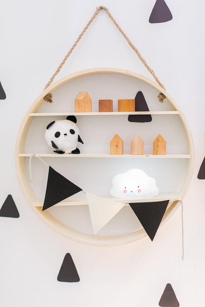 Circle Wall Shelf with Panda Decor from a Minimal Scandinavian Inspired Panda Birthday Party on Kara's Party Ideas | KarasPartyIdeas.com (18)