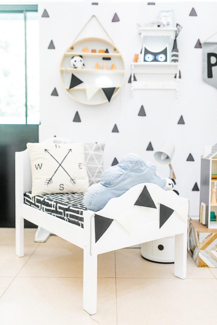 Monochromatic Bed from a Minimal Scandinavian Inspired Panda Birthday Party on Kara's Party Ideas | KarasPartyIdeas.com (17)