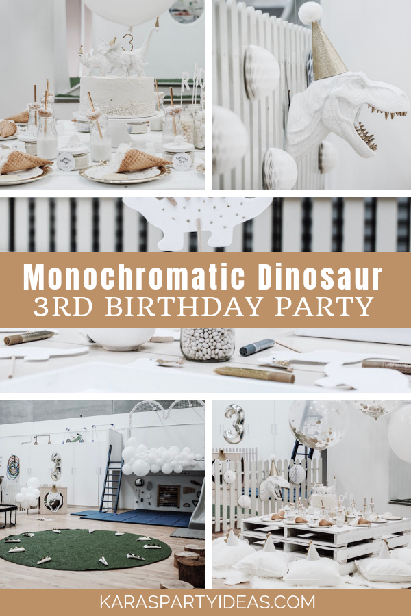 Monochromatic Dinosaur Roaring 3rd Birthday Party via Kara's Party Ideas - KarasPartyIdeas