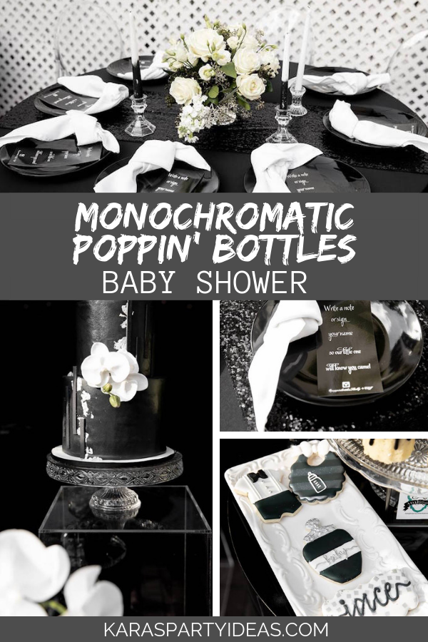 Monochromatic Poppin' Bottles Baby Shower via Kara's Party Ideas - KarasPartyIdeas.com