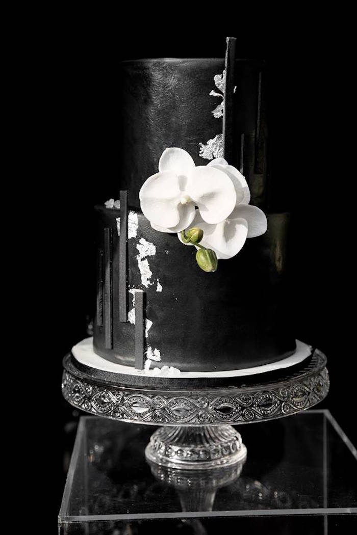 Black & White Cake from a Monochromatic Popping Bottles Baby Shower on Kara's Party Ideas | KarasPartyIdeas.com (21)