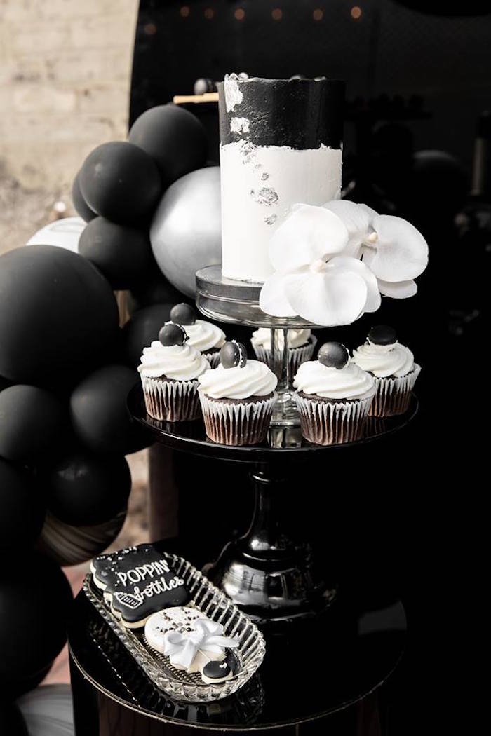 Cake & Sweets Pedestal Table from a Monochromatic Popping Bottles Baby Shower on Kara's Party Ideas | KarasPartyIdeas.com (15)