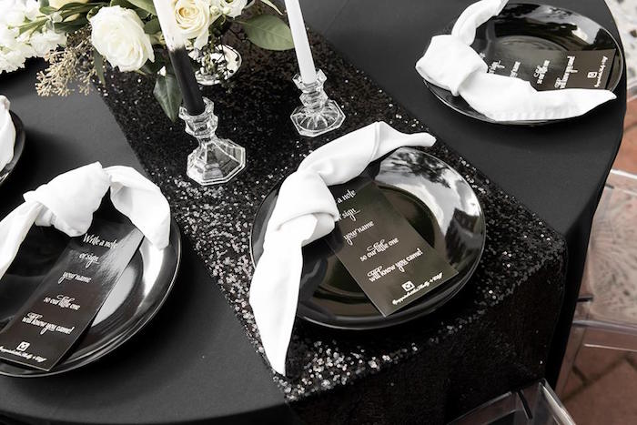 Monochromatic Table Setting from a Monochromatic Popping Bottles Baby Shower on Kara's Party Ideas | KarasPartyIdeas.com (14)