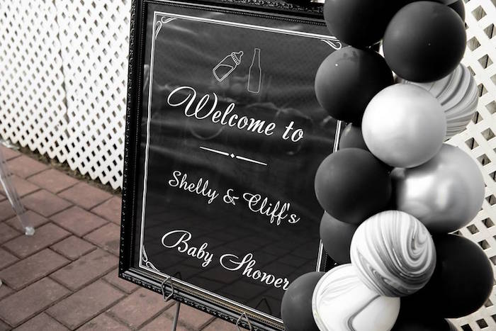 Black & White Welcome Sign from a Monochromatic Popping Bottles Baby Shower on Kara's Party Ideas | KarasPartyIdeas.com (11)