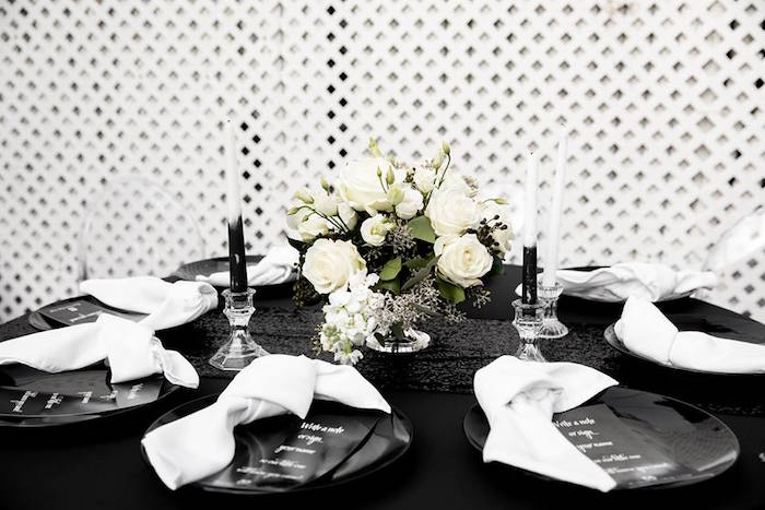 Black & White Dining + Guest Table from a Monochromatic Popping Bottles Baby Shower on Kara's Party Ideas | KarasPartyIdeas.com (7)