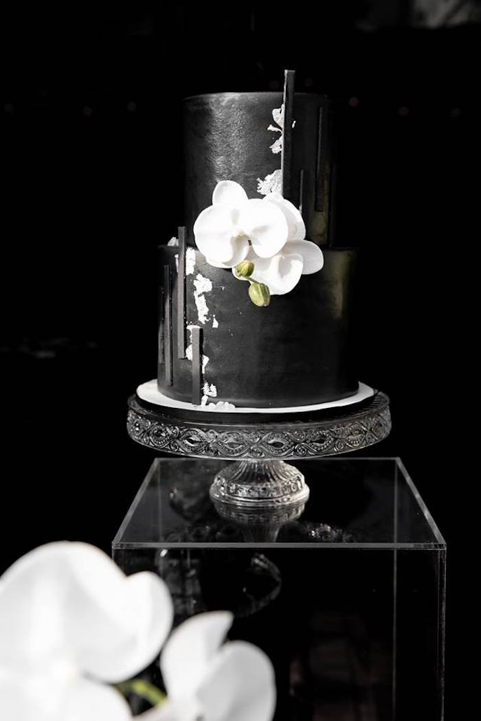 Gorgeous Black & White Cake from a Monochromatic Popping Bottles Baby Shower on Kara's Party Ideas | KarasPartyIdeas.com (31)