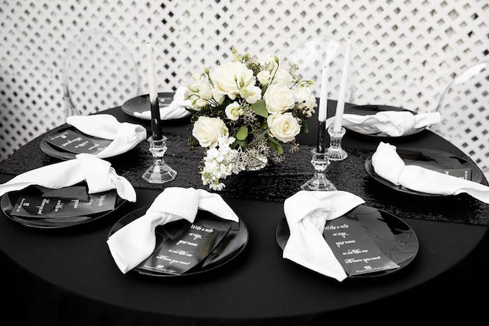 Black & White Dining + Guest Table from a Monochromatic Popping Bottles Baby Shower on Kara's Party Ideas | KarasPartyIdeas.com (3)