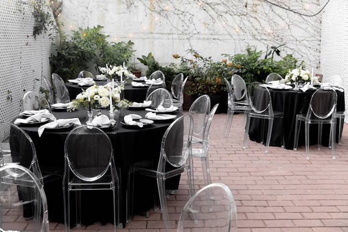 Black Guest Tables with Ghost Chairs from a Monochromatic Popping Bottles Baby Shower on Kara's Party Ideas | KarasPartyIdeas.com (30)