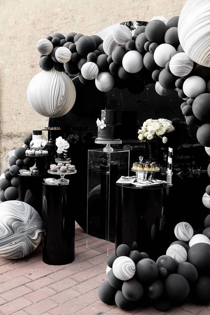 Monochromatic Popping Bottles Baby Shower on Kara's Party Ideas | KarasPartyIdeas.com (29)