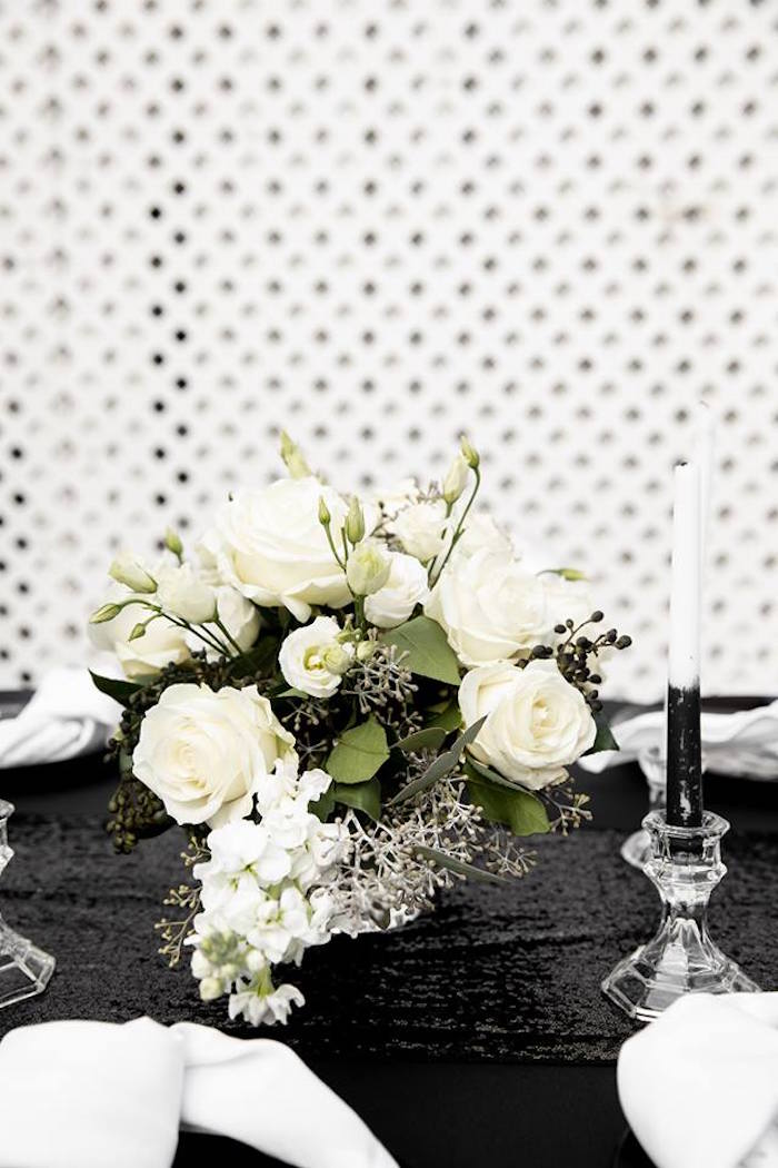 White Floral Centerpiece from a Monochromatic Popping Bottles Baby Shower on Kara's Party Ideas | KarasPartyIdeas.com (26)