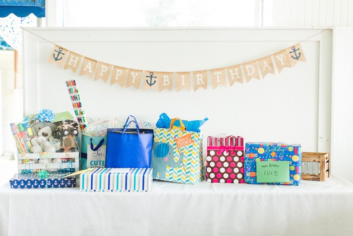 Gift Table from a Nautical 1st Birthday Party on Kara's Party Ideas | KarasPartyIdeas.com (24)