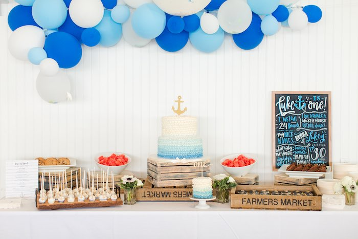 Nautical Dessert Table from a Nautical 1st Birthday Party on Kara's Party Ideas | KarasPartyIdeas.com (19)