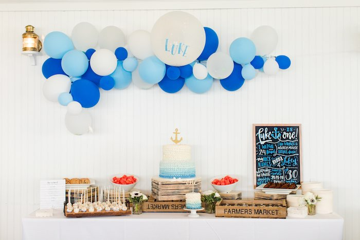 Nautical Dessert Table from a Nautical 1st Birthday Party on Kara's Party Ideas | KarasPartyIdeas.com (18)