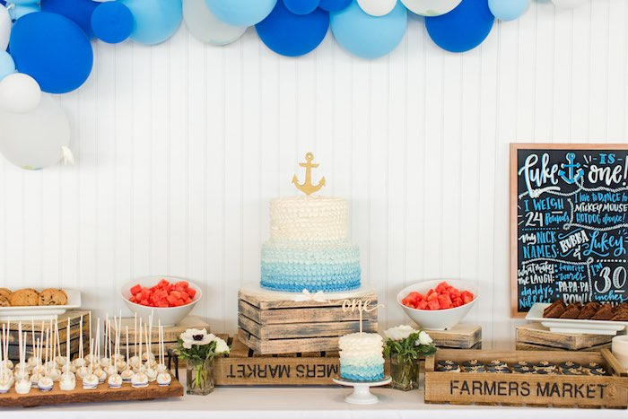 Nautical Cake Table from a Nautical 1st Birthday Party on Kara's Party Ideas | KarasPartyIdeas.com (17)