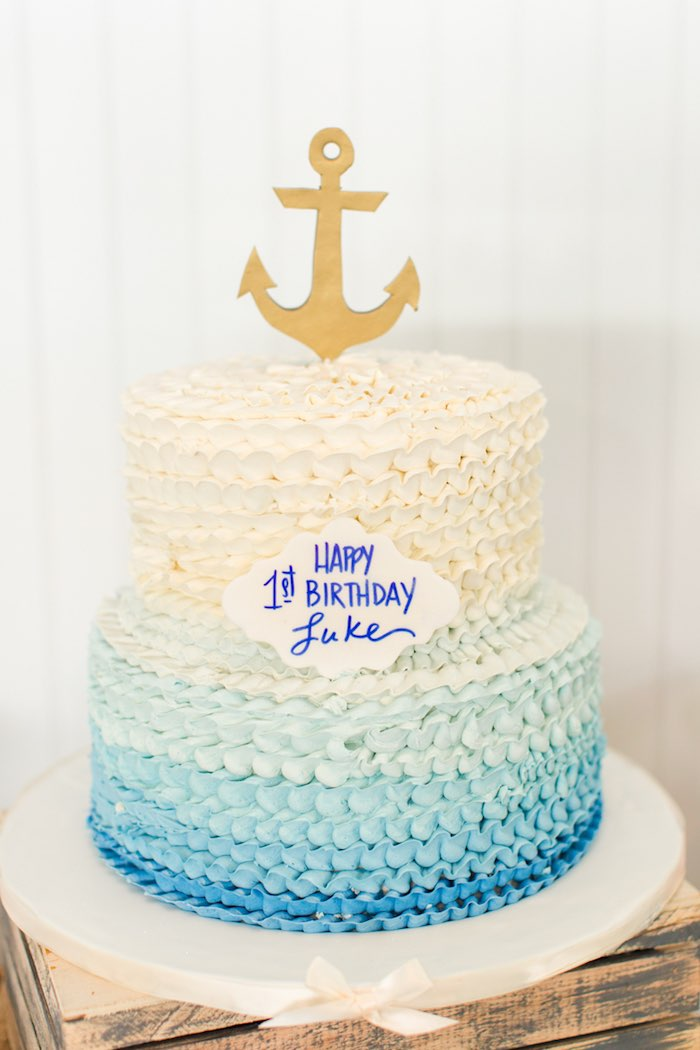 Nautical Ombre Cake from a Nautical 1st Birthday Party on Kara's Party Ideas | KarasPartyIdeas.com (15)