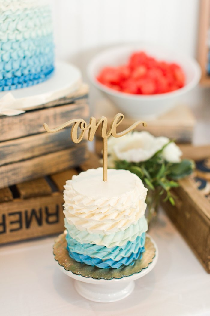 Blue + White Ombre Cake from a Nautical 1st Birthday Party on Kara's Party Ideas | KarasPartyIdeas.com (14)