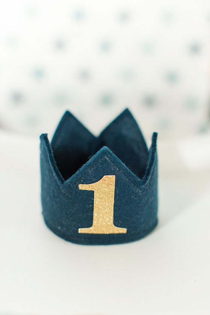Felt Crown from a Nautical 1st Birthday Party on Kara's Party Ideas | KarasPartyIdeas.com (8)