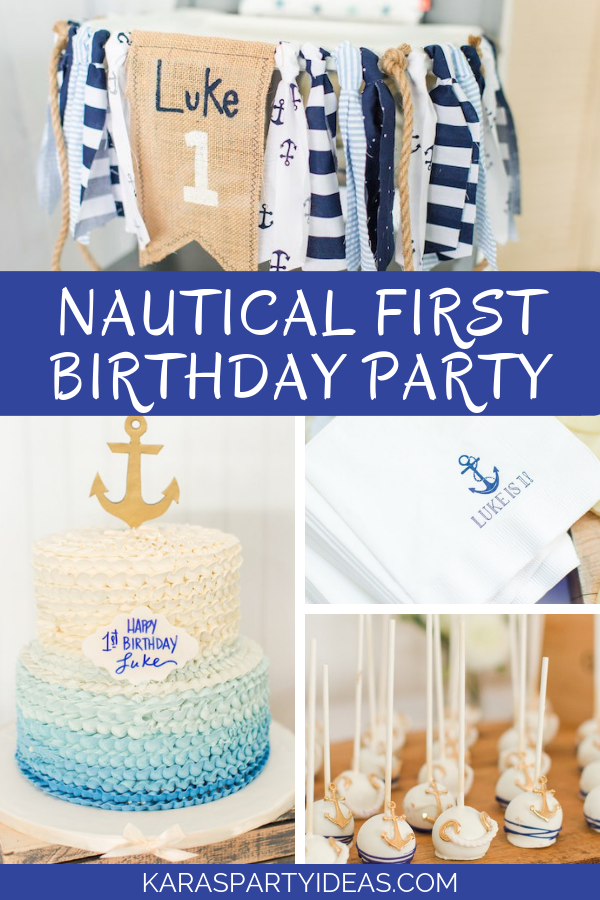 Nautical 1st Birthday Party via Kara's Party Ideas - KarasPartyIdeas.com