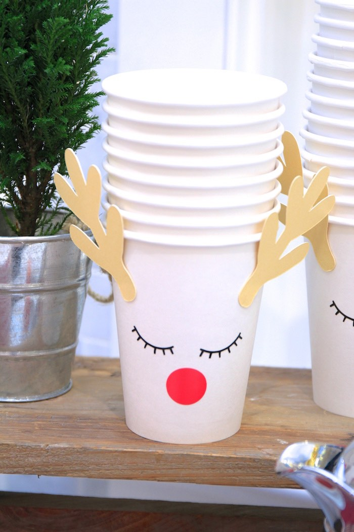 Reindeer Cups from an OH DEER Christmas Party on Kara's Party Ideas | KarasPartyIdeas.com (26)