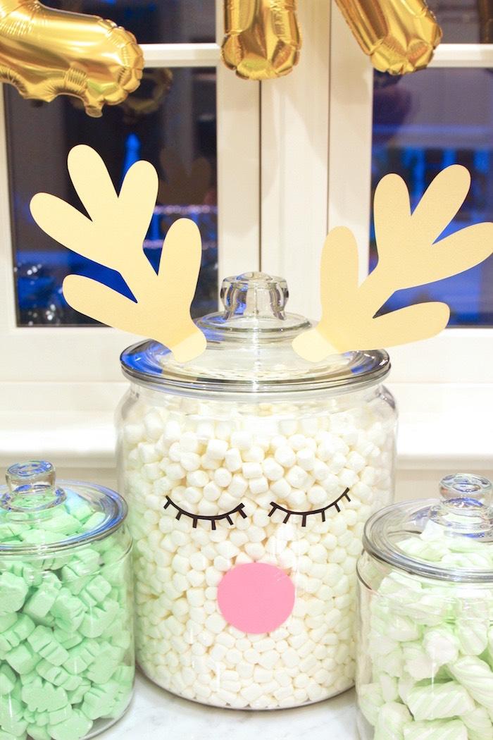 Reindeer Marshmallow Jar from an OH DEER Christmas Party on Kara's Party Ideas | KarasPartyIdeas.com (24)