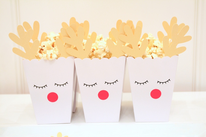 Reindeer Popcorn Boxes from an OH DEER Christmas Party on Kara's Party Ideas | KarasPartyIdeas.com (22)