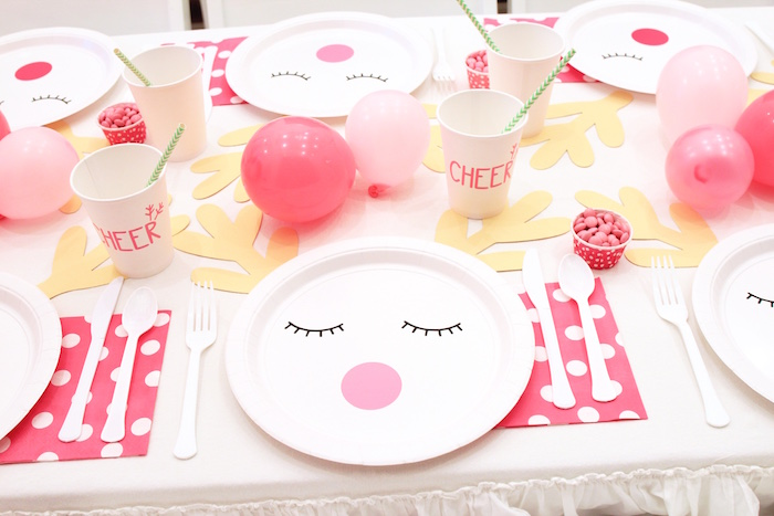 Reindeer Table Setting from an OH DEER Christmas Party on Kara's Party Ideas | KarasPartyIdeas.com (20)
