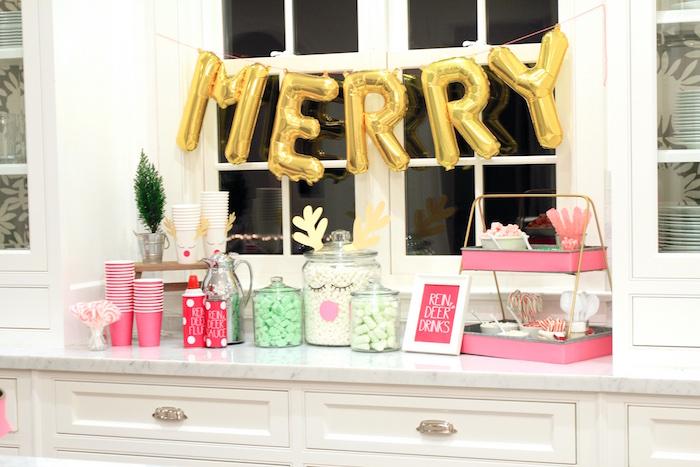 Reindeer Drink Bar from an OH DEER Christmas Party on Kara's Party Ideas | KarasPartyIdeas.com (18)