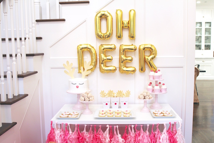 Girly Reindeer Themed Dessert Table from an OH DEER Christmas Party on Kara's Party Ideas | KarasPartyIdeas.com (36)