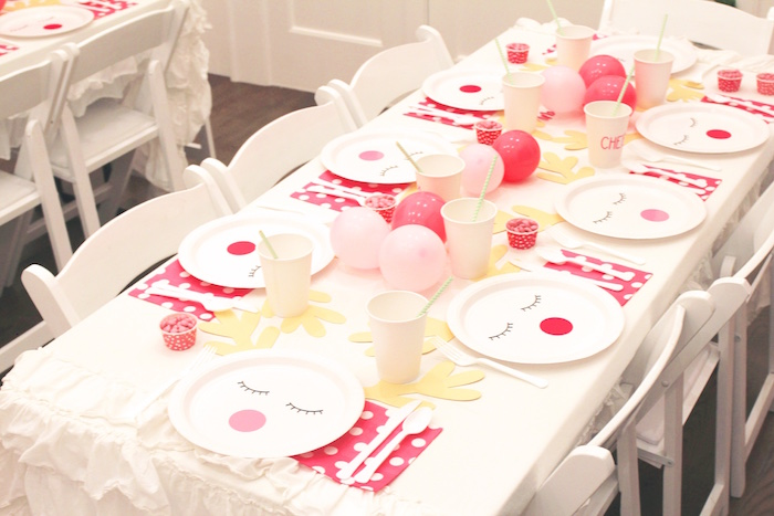 Deer Themed Guest Table from an OH DEER Christmas Party on Kara's Party Ideas | KarasPartyIdeas.com (15)