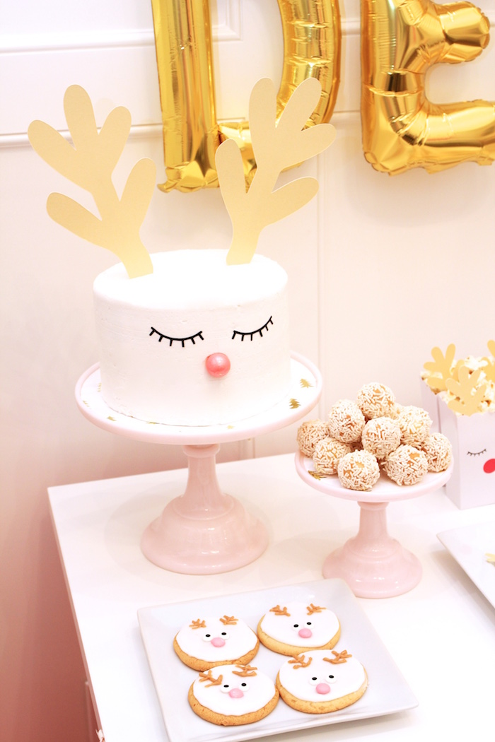 Reindeer Cake from an OH DEER Christmas Party on Kara's Party Ideas | KarasPartyIdeas.com (12)