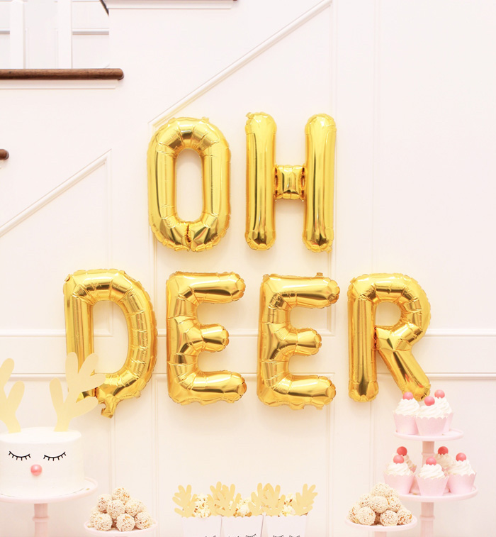 OH DEER Balloon Banner from an OH DEER Christmas Party on Kara's Party Ideas | KarasPartyIdeas.com (10)